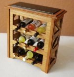 "1"" Scale Wine Rack Cherry with 9 Bottles of Wine"