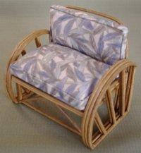 Rattan Ottoman - Blue Leaves Rectangle