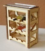"1"" Scale Wine Rack Maple/Mah with 3 Bottles of Wine"