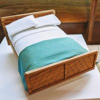"1"" Bed - Oak with Teal Striped Silk Throw"