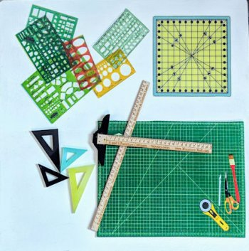"1"" Mat, Templates, T-Square, Angles & Yard Stick"