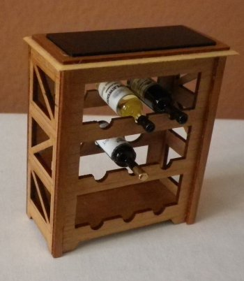 "1"" Scale Wine Rack Cherry with 3 Bottles of Wine"