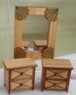 Art Deco Nightstands & Wall Mirror Kit