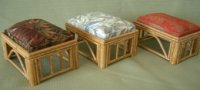 Rattan Ottoman - Rust Bamboo- Rectangle