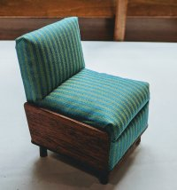 "1"" Chair - Teal Striped Silk and Mahogany"