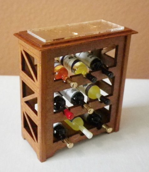 "1"" Scale Wine Rack Cherry & Goldleaf with 9 Bottles of Wine - Click Image to Close"