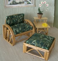 Rattan Ottoman - Dark Green Leaves Square
