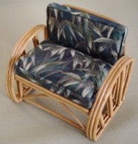 Rattan Chair - Dark Green Bamboo