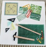 "1/2"" Mat, Templates, T-Square, Angles & Yard Stick"