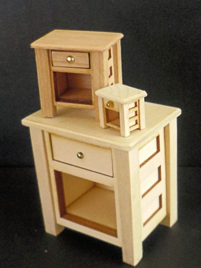 "Night Stand 1/2"" Scale - Cherry or Maple - Click Image to Close"