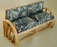 Rattan Sofa - Dark Green Bamboo