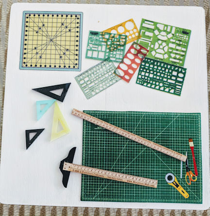 "1/2"" Mat, Templates, T-Square, Angles & Yard Stick - Click Image to Close"